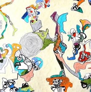 Anja Kaufhold, Zeichnung 150 x 150 cm(Ausschnitt)